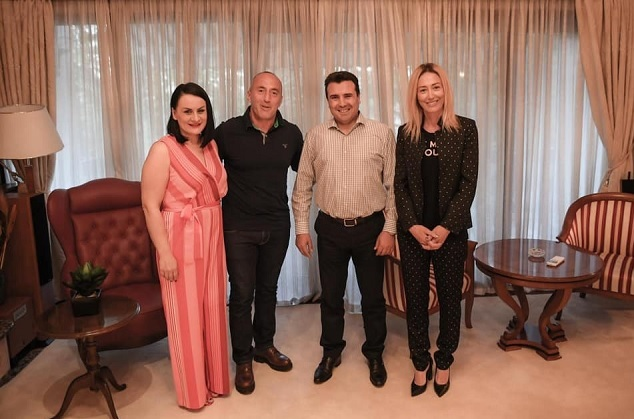Ramush and Anita Hardinaj visiting Zoran Zaev's home