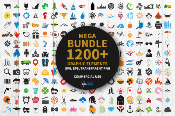 Bundle 1200 Graphic Elements Clipart Svg