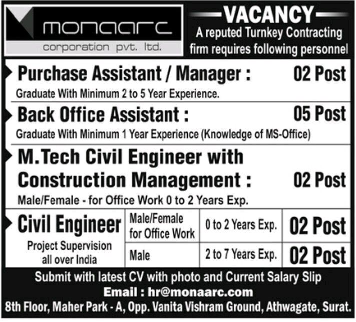 Civil Engineers And Any Graduate Candidates Jobs Vacancy For Various Position In Monaarc Corporation Pvt Ltd