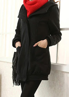 Hooded Collar Pocket Black Zipper Up Coat