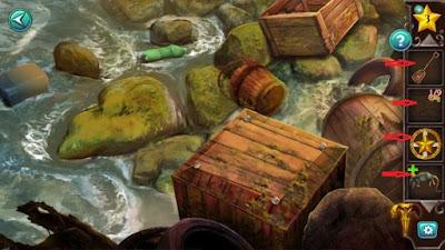 на берегу разбросаны необходимые нам предметы которые собираем