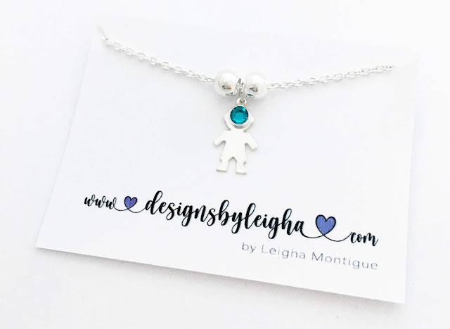 Boy Charm Necklace with a December Birthstone on a Rolo Chain