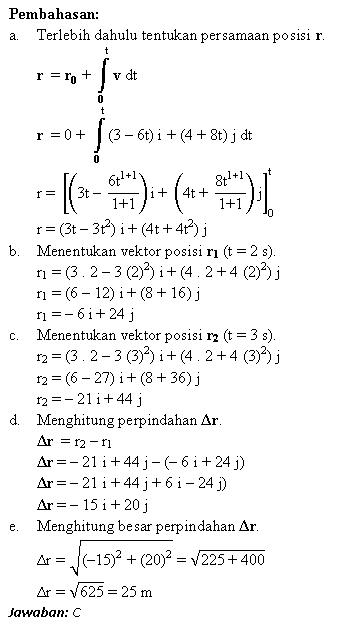 Pembahasan soal vektor perpindahan