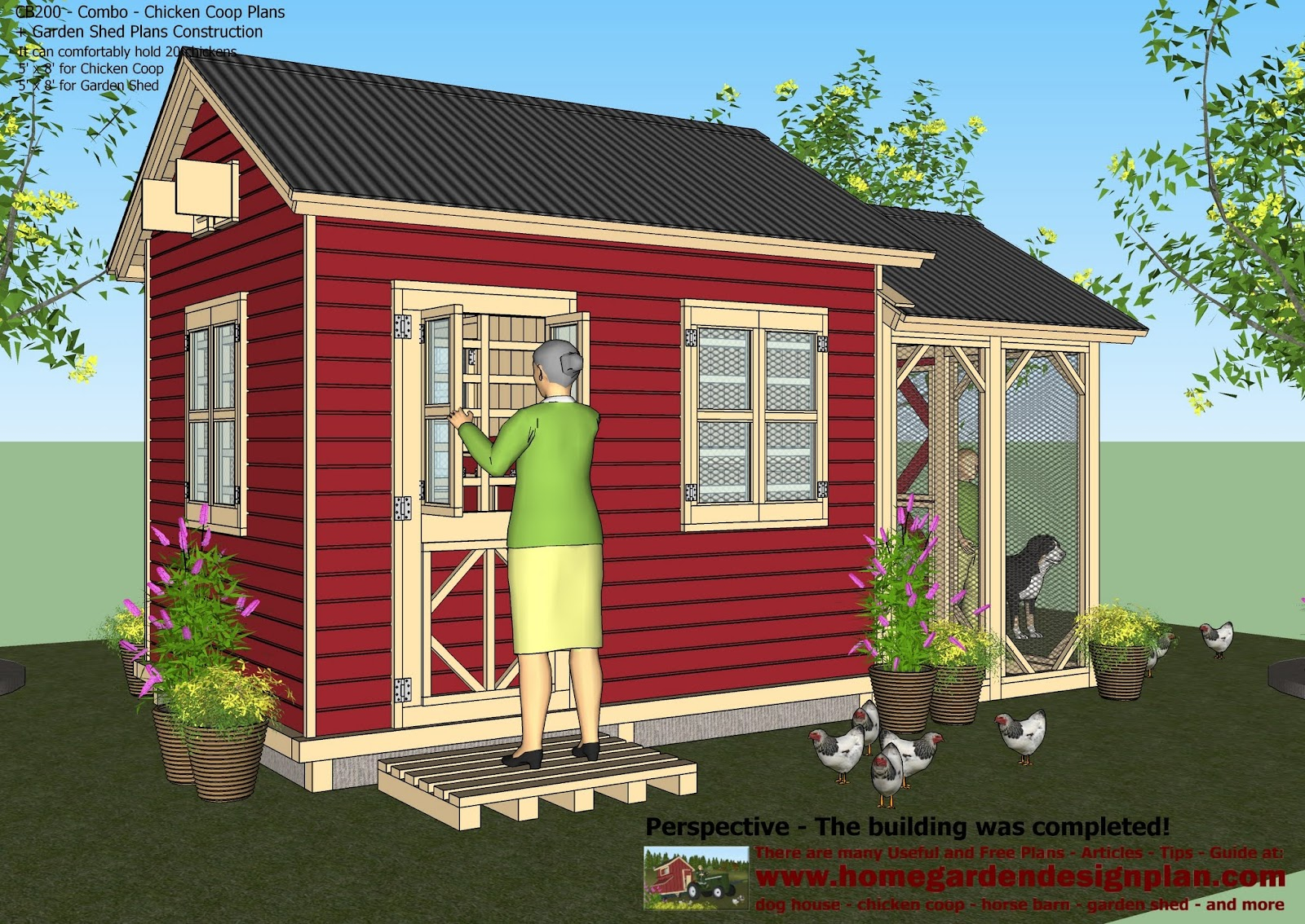 Home garden plans cb200 combo plans chicken coop for Garden house plans