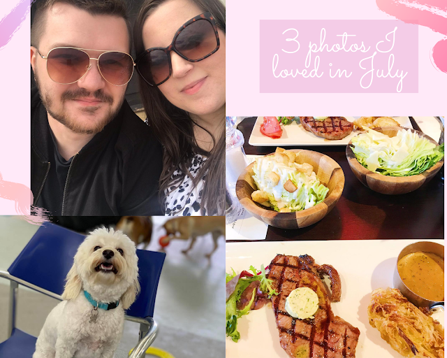 collage - pink background, text with title, selfie at the beach, meal at miller and carter, bear at daycare