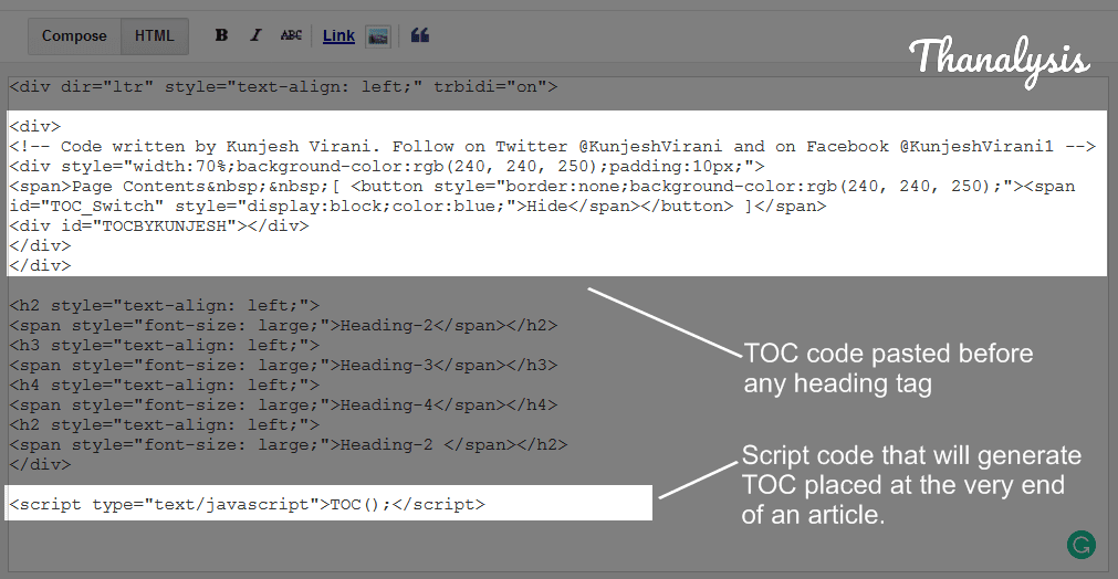 HTML version of the Blog post and TOC code is pasted