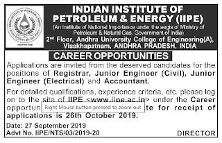 Visakhapatnam, IIPE Junior Engineer (Civil, Electrical) Accountant Govt jobs 2019 Recruitment Apply Online