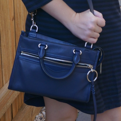 Navy striped dress with Rebecca Minkoff Micro Bedford zip satchel in twilight | away from the blue