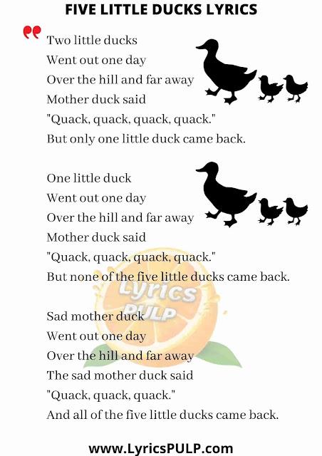 Five Little Ducks Lyrics • Nursery Rhymes