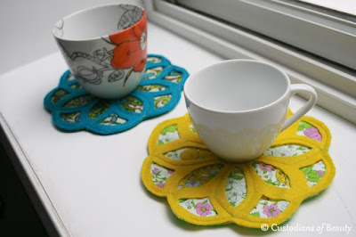 Vintage Fabric Trivet | DIY Coaster by CustodiansofBeauty.blogspot.com