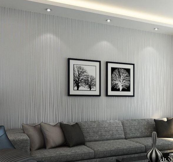 Minimalist Stripe Wallpaper Non Woven Wall Covering Moon Light Home Living Room