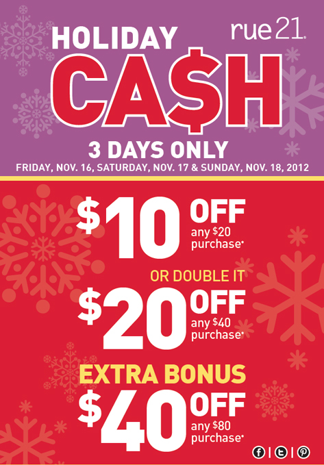 Modern Saver Rue21 Holiday Cash 50 Off
