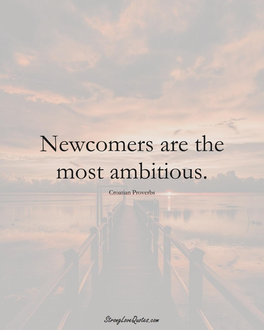 Newcomers are the most ambitious. (Croatian Sayings);  #EuropeanSayings