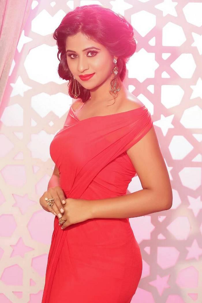 Actress Manali Rathod In Red Dress Hot Photoshoot