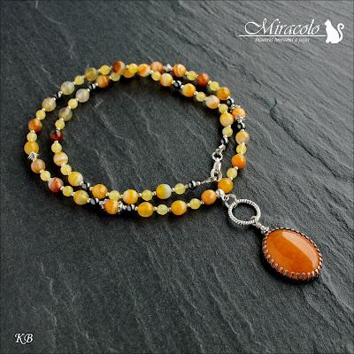 Miracolo, naszyjnik z żółtym agatem, żółty agat, żółty jadeit, yellow agate, yellow agate necklace