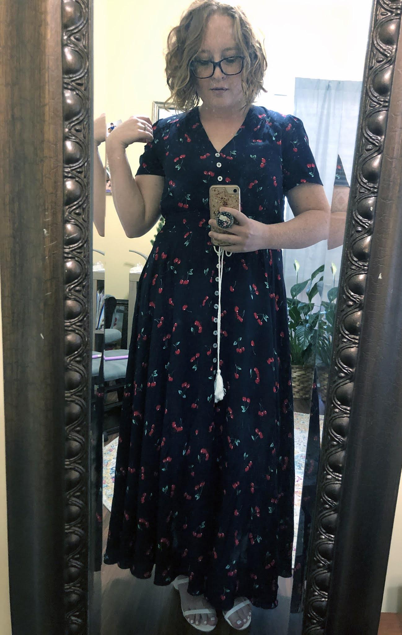 cherry print dress