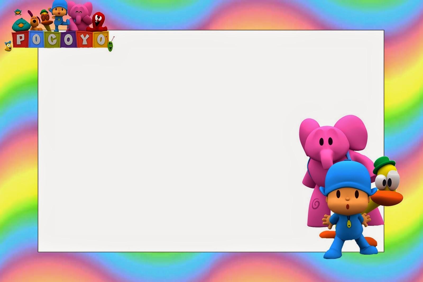 Pocoyo with Rainbow Background Free Printable Invitations Oh My B