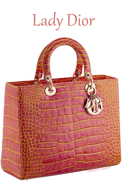 Large pink and yellow patinated alligator Lady Dior bag #brilliantluxury