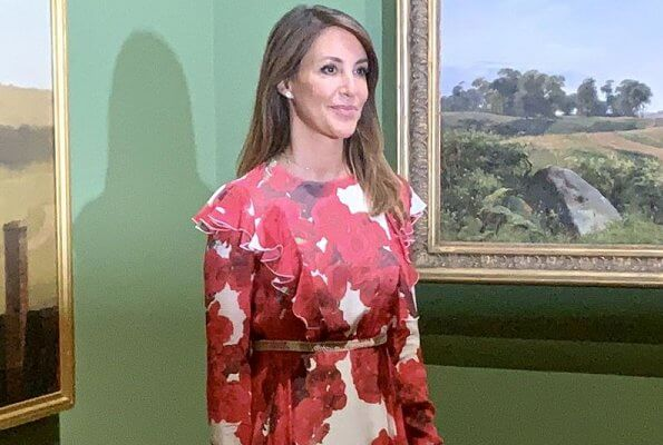 Danish Princess Marie wore a rose-print ruffled silk dress from Giambattista Valli. Princess Marie wore Giambattista Valli floral print silk dress