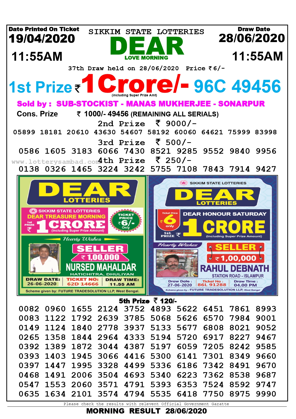 ottery Sambad Today Morning 11.55 AM Result - June 28.06.2020