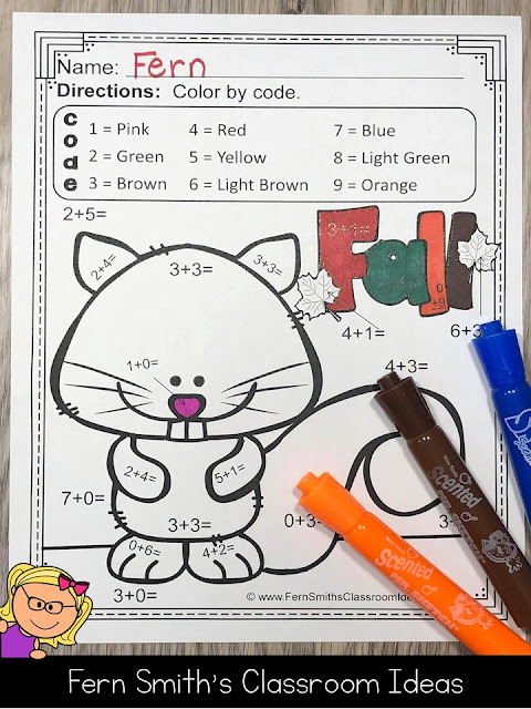 ** BEST SELLER ** You will love the ease of these Ten Adorable Fall Themed Color by Number Addition and Subtraction for Fall and Autumn Resource. Your students will adore these TEN Fall Color By Number Worksheets while learning and reviewing important skills at the same time! You will love the no prep, print and go ease of these printables. As always, answer keys are included. 10 adorable Fall Themed Color by Code Addition and Subtraction for Fall and Autumn. #FernSmithsClassroomIdeas