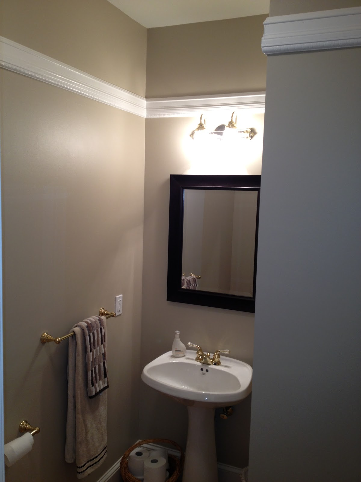 Home Addition Installed Chair Rail In High Ceiling Powder Room Home Improvement Home