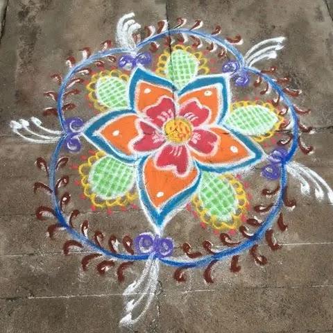 Flowers-with-net-muggulu-design