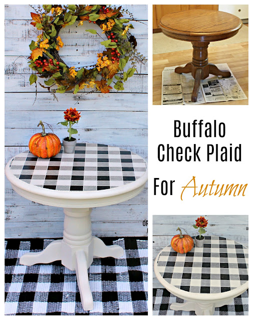 An Oak End Table Upcycle with Paint & Buffalo Check Stencil