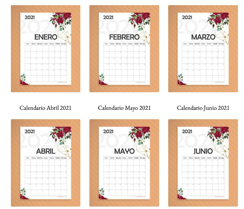 Calendario 21 imprimible con fondo blanco y por meses