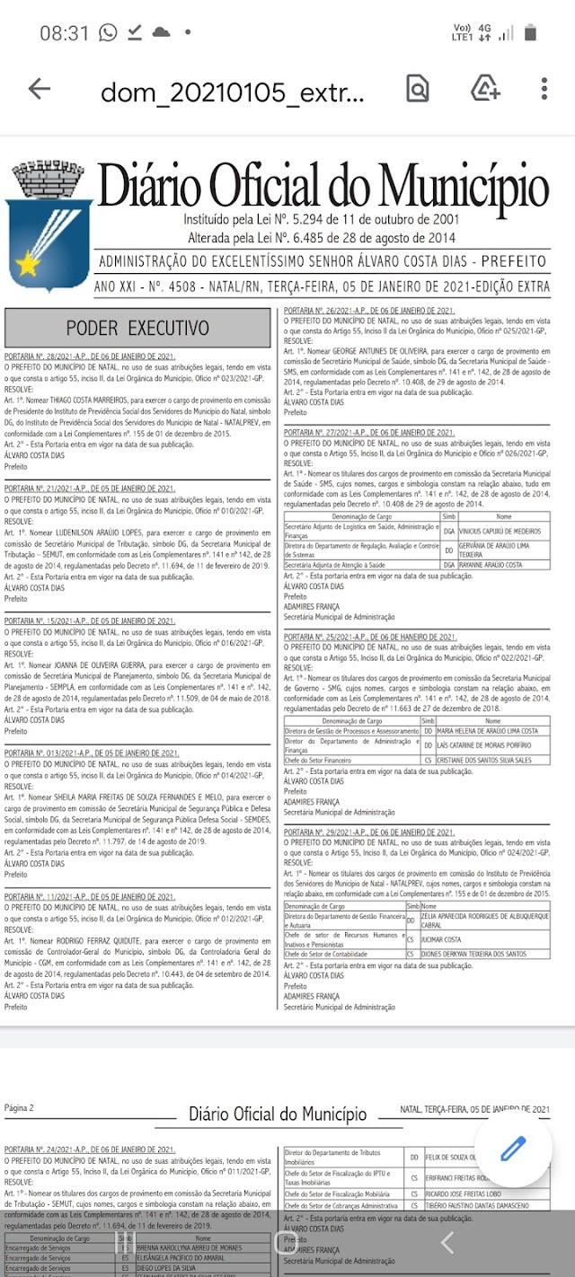 DIÁRIO OFICIAL CONFIRMA NOMES DO SECRETARIADO DE ÁLVARO DIAS