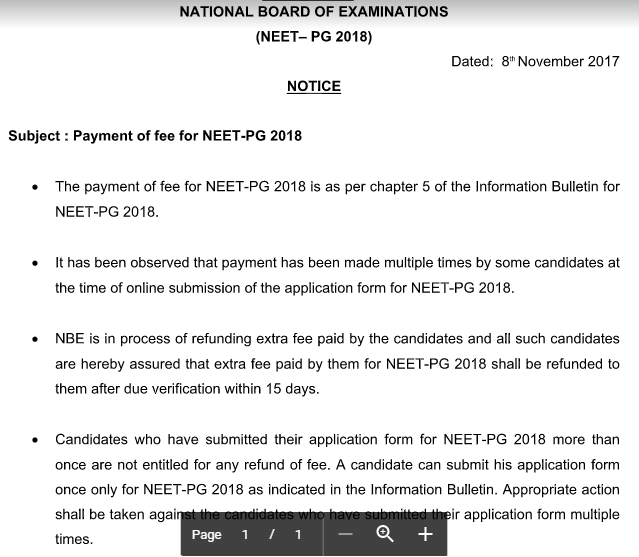 NEET PG 2018: Extra fees if paid will be refunded back
