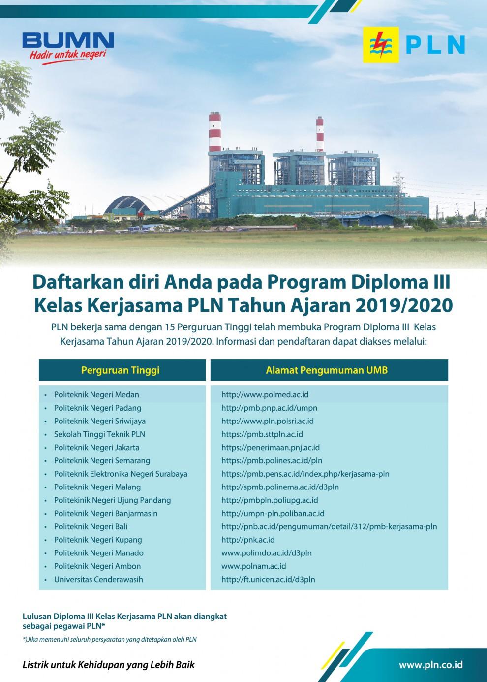 Lowongan Kerja D3 Kelas Kerjasama PT PLN (Persero) Tahun Ajaran 2019 / 2020