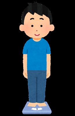 体重計に乗る人のイラスト(男性)