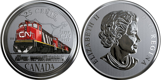 Canada 25 cents 2019 - 100th anniversary of Canadian National Railway