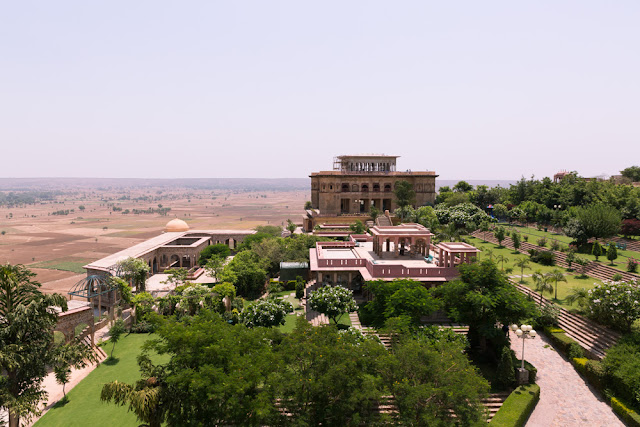 Aerial View with terraced gardens of tijara fort palace heritage hotel alwar rajasthan india
