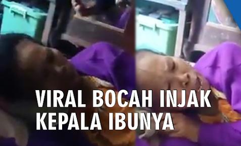 Viral Seorang anak Injak Kepala Ibunya, AP Dibawa Polisi hingga Sujud di Kaki ibu