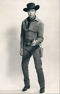 Publicity photo of Dale Robertson posed as officer for the Wells Fargo