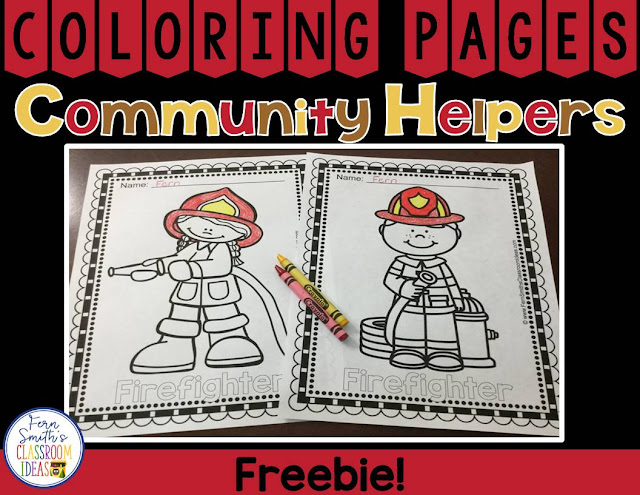 Two FREE Community Helpers Color For Fun coloring pages, a male firefighter and a female firefighter for your classroom FUN! #FernSmithsClassroomIdeas