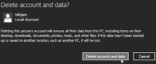 Windows 8.1, Paramètres PC, Comptes, Autres comptes, Supprimer le compte et les données. Cliquez sur 'Supprimer le compte et les données' pour confirmer l'élimination du compte utilisateur.