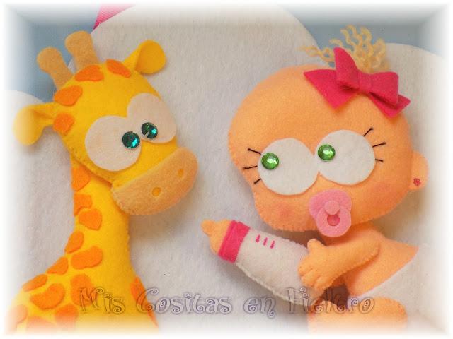 bebé, decoración, baby, animal, cloud, felt, fieltro, nube, adorno de fieltro, niños, habitación, jirafa, xirafa, giraffe
