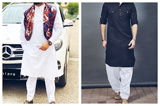 Two mens wearing different types of indo-western wear kurta-pajama.