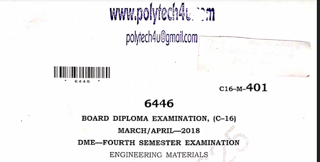 SBTET AP C-16 ENGINEERING MATERIALS PREVIOUS QUESTION PAPER MARCH-APRIL 2018