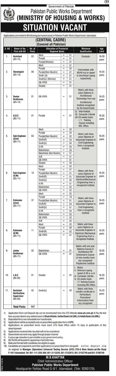 Jobs In Pakistan Public Works Department ( Ministry Of