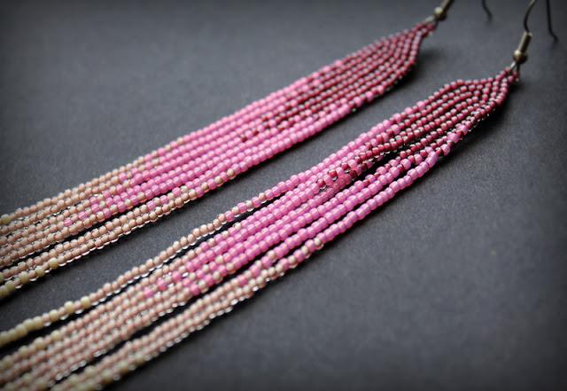 купить самые длинные серьги из бисера с бахромой этно бохо градиент переход цвета