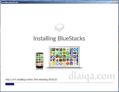 tunggu sampai BlueStacks ter-install sempurna