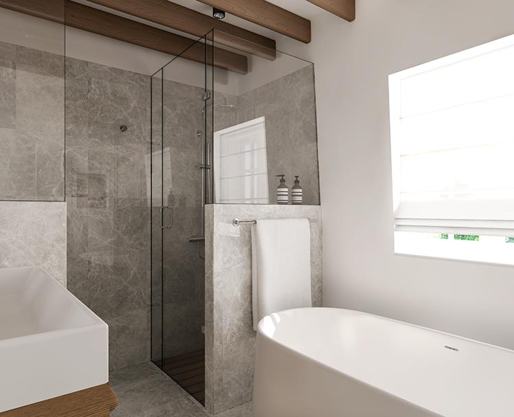 Marble and wood bathroom design. E-design proposal by Eleni Psyllaki My Paradissi