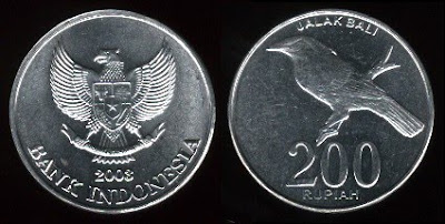 Indonesia 200 Rupiah (2003) Balinese Starling Bird Coin