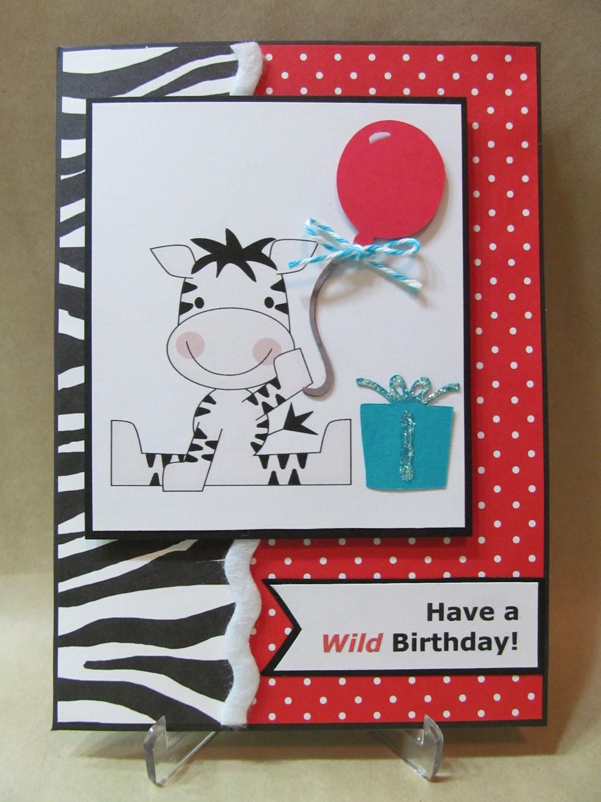 savvy handmade cards zebra birthday card