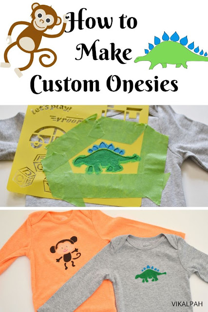 Dinosaur and monkey onesies using stencils and paint