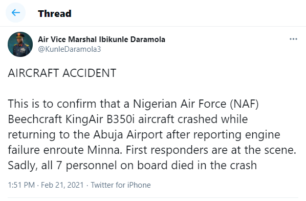 Update: Nigerian Air Force confirms death of 7 persons in military plane crash in Abuja